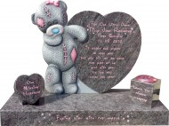 Carver Me-to-You Teddy 4' thick - 2'10 overall height Extra sized Base + Vase for Baby Grave in Adult Plot
