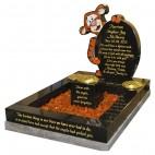 Black Granite TIgger Kerbset Memorial for Baby Grave