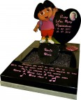 Black Granite Dora the Explorer Memorial for Baby Grave