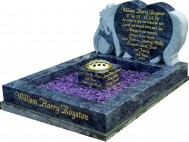 Bahama Blue Hand Carved Eeyore Kerbset Memorial for Baby Grave