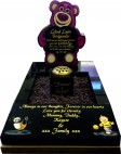 Black Granite Lottso Bear Memorial for Baby Grave