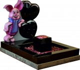 Black Granite Hand Carved & Hand Painted Piglet leaning on cushion heart balloons for Baby Grave