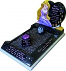 Black Granite Carved Rapunzel Kerbset for Child Grave