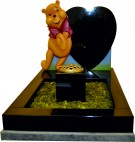 Black Granite Hand Carved & Hand Painted Winnie-the-Pooh Kerbset for Baby Grave